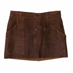 NWT JOIE camel 100% leather mini skirt